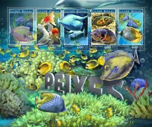 Guinea-Bissau - 2017 Fish on Stamps - 5 Stamp Sheet - GB17207a