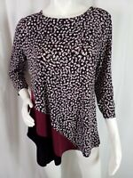 Alfani Top Pullover Tunic Dots Stripes 3/4 Sleeve Stretch Red Black Size XL