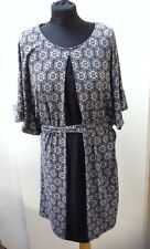 Floral Monsoon Midi Dress Black White Colour 3/4 Sleeve Size 12