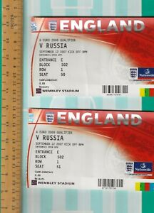 ENGLAND v RUSSIA - NEW WEMBLEY - EURO 2008 QUALIFIER - TWO TICKETS TOGETHER
