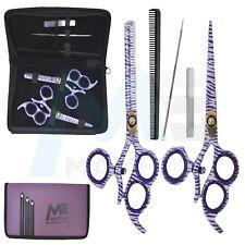 """Hairdressing 5.5"""" Scissors Thinning Set Barber Salon Shears Purple Zebra 3 Ring"""