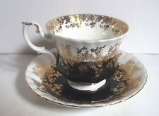 Vintage Royal Albert Black And Gold Regal Series Cup and Saucer