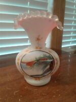 Vintage White Pink Cased Satin Glass Crimped Vase Enamel Hand Painted Scene