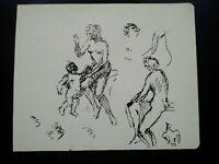 Curiosa nu à l'antique esquisses femme plume & encre dessin original Venus ?