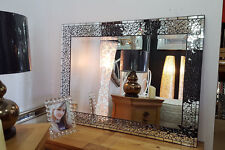 Large Wall Mirror Moroccon Design Handmade Glass Black Bevelled 112x82cm