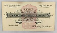 c1880s Advertising Business Trade Card Burlington Wooden Ware Iowa Baskets +