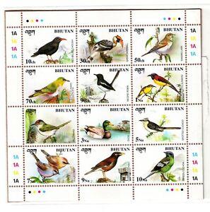 """Bhutan-12Diif. 10Ch to 10NU 1998/Scott-1194 """"Birds"""" MNH Miniature Sheet #MS1534"""