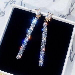 Fashion Long Crystal Earrings Women Geometric Simple Luxury Dangle Drop Earrings