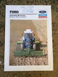 FORD 7810 / 8210 TRACTOR BROCHURE GEN 3 SALES LEAFLET 90s FARM CLASSIC MODELS
