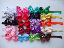 "✿ 4"" Inch Girls Baby Hair Bow Elastic Headband ✿ 20 colours ✿ UK Stock ✿"