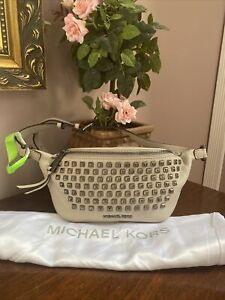 Michael Kors Fanny Pack Waist Bag  Rhea Pyramid Studded Gray Leather B2S