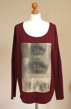 Maison Scotch & Soda Plus Sz 3 UK 18 20 100% Cotton Long Sleeve Top T-shirt Red