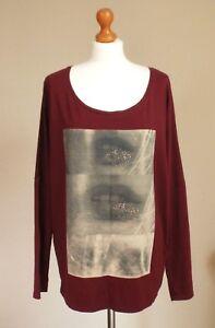 Maison Scotch & Soda Size 3 UK 14 16 18 Oversized Cotton Top Lips T-shirt Red
