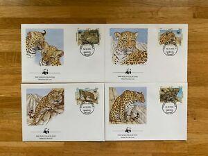 AFGHANISTAN 1985 FDC x 4 WWF BIG CATS LEOPARD