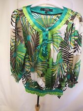 Ladies Top Debenhams UK 10, EU 38, green/brown leaf print, elasticated hems 0264