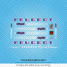 Peugeot Tandem Bicycle Decals - Transfers - Stickers - Purple & White - Set 764