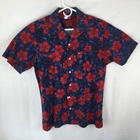 Tommy Hilfiger Vintage Blue Red Floral SS Hawaiian Aloha Camp Medium Shirt