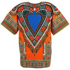 Cotton Heart African Dashiki Mexican Poncho Hippie Boho Shirt Orange ad17o