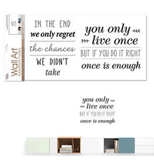 QUOTE: YOU ONLY LIVE ONCE wall stickers 11 big decals inspirational wall decor