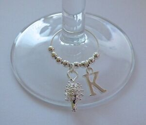 PERSONALISED SILVER PLATED HEDGEHOG INITIAL / LETTER WINE GIN GLASS CHARMS GIFT