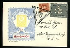 Postal History Hungary Sc #794 Exhibition Card Seal Label 1946 New Brunswick NJ