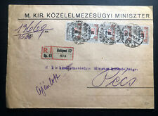 1923 Budapest Hungary Registered Commercial Cover To Pecs
