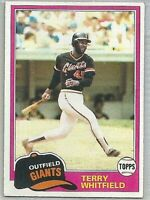 1981 TOPPS TERRY WHITFIELD SAN FRANCISCO GIANTS #167 BASEBALL CARD
