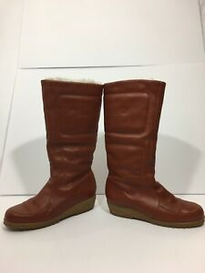 LL Bean Leather Quilted High Boots Brown Womens Size 7 Made In Canada