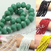 20-100 Rondelle Faceted Crystal Glass Loose Spacer Beads DIY Findings 4/6/8/10mm