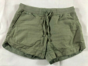 Country Road Women's Green Linen & Cotton Military Shorts Size 8 - Free Post