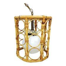 Vintage Mid Century Tiki Bamboo Rattan White Globe Hanging Swag Pendant Lamp