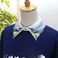 Fashion Women Ladies False Fake Collar Floral Shirt Blouse Embellished Bird Y