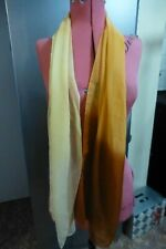 "LOVELY Yellow Graduating to Brown Ladies Chiffon SCARF 63"" Long"