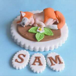 Edible baby christening / 1st birthday cake topper decoration. Edible baby fox