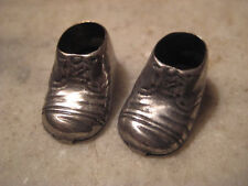2 Vintage 1950 Charms, 3D Antique Silver Baby Shoes or Booties, Detailed Pendant