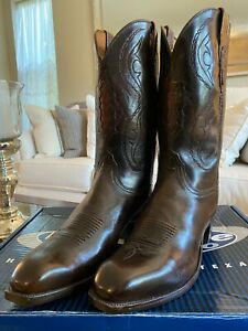 Lucchese 2000 Men's Hand Made Teak Exotic Buffalo Western Boots Size 11.5EE NEW