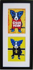 """GEORGE RODRIGUE BLUE DOG MATTED & FRAMED POSTCARDS - VERTICAL FRAME - 9"""" X 19"""""""