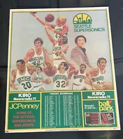 SEATTLE SUPER SONICS 1980-81 Schedule Poster Giveaway WIlkens Sikma Brown