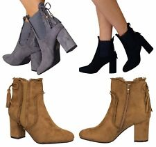 Womens Frill Front Ankle Shoe Ladies Block High Heels Boots Zip Up Warm Casual