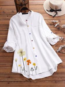 Plus Size Womens Cotton Linen Tunic Blouse Tops Ladies Baggy Long Sleeve T-Shirt