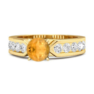 0.25 Ct Citrine Gemstone 9K Yellow Gold Tale Of Beauty Ring US-5