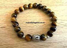 Tiger Eye Natural Gemstone Bead Bracelet Healing Chakra Yoga Buddha Face Reiki