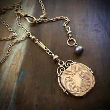 "Antique SKM CO. 14K GOLD-FILLED LOCKET /FOB Up-Cycled ""Y"" NECKLACE Adj.17"" -19"""