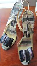 Vintage/Antique 1950's-style Bombshell Striped Heels by Galano Approx. Size 6
