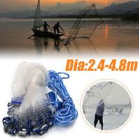 8ft-16ft Hand Cast Fishing Net Spin Network 0.75-1LB Bait Mesh Equipment