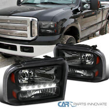 Fit Ford 05-07 F250/F350/F450/F550 05 Excursion Black Clear LED DRL Headlights