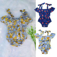 Summer Newborn Baby Girl Flower Romper Bodysuit Jumpsuit Sunsuit Outfits Clothes