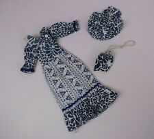 Vintage Sindy Barbie Tressy Blue And White Dress Hat And Bag Outfit