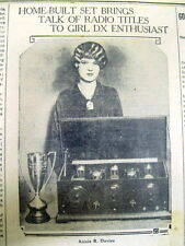 1928 newspaper w photo & biography of a 15 year old GIRL -An EARLY RADIO GENIUS