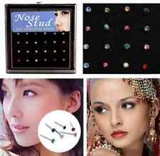 24pcs Crystal Rhinestone Nose Ring Bone Stud Bar Surgical Steel Piercing